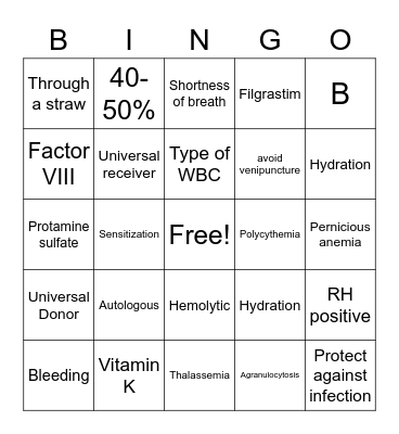 Blood and Lymph Disorders Bingo Card