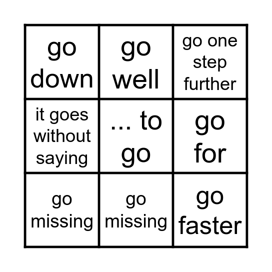 Expressions with go Bingo Card