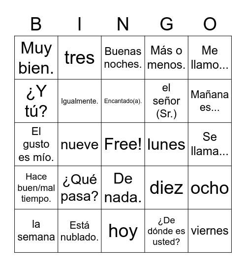 Preliminary Vocab. Bingo Card