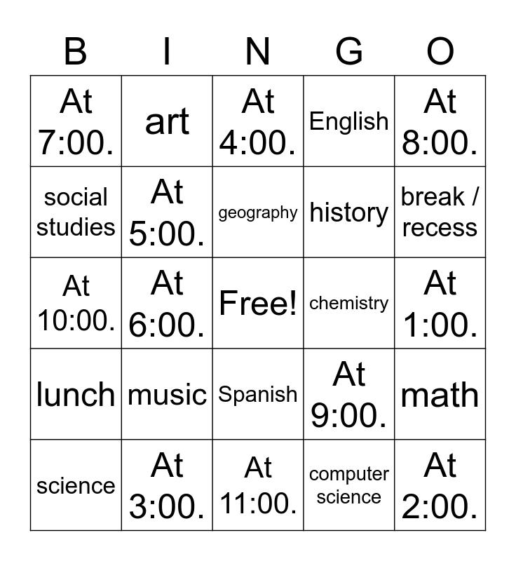 las clases y la hora Bingo Card