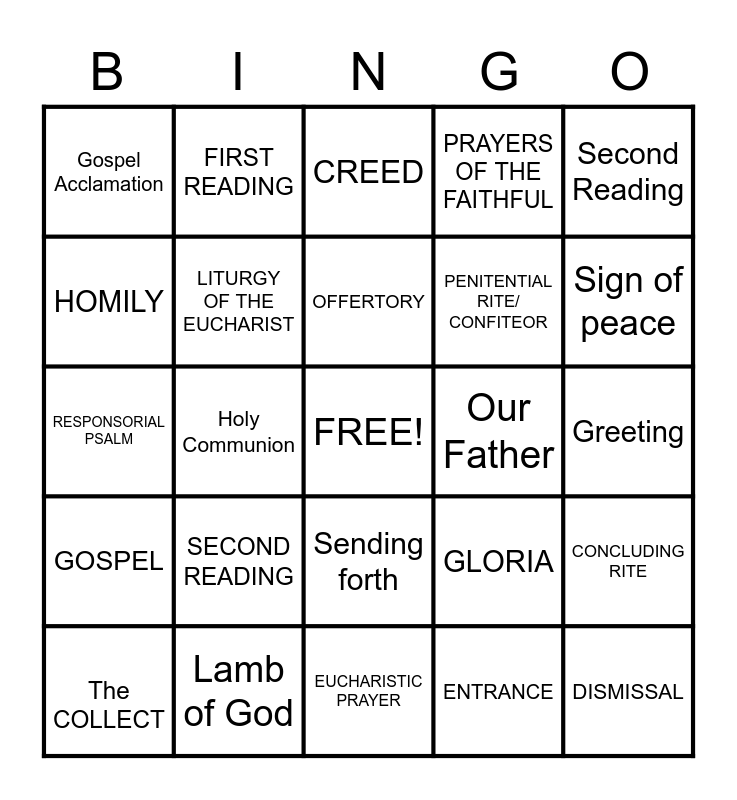 PARTS OF THE MASS Bingo Card