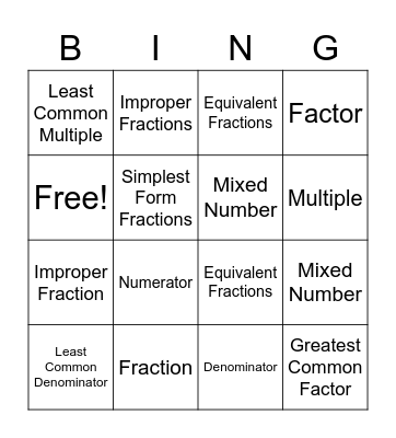 Basic Math Vocabulary Bingo Card