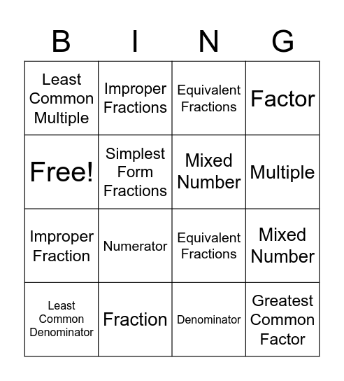 Basic Math Vocabulary Bingo Card