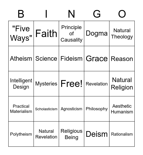 Chapter One Vocabulary Bingo Card