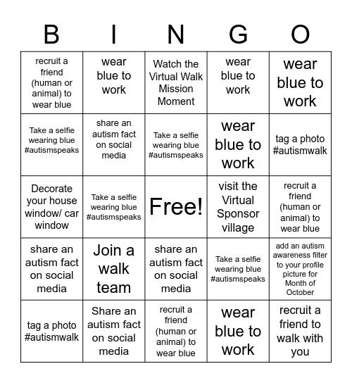 Autism Awareness Bingo Card