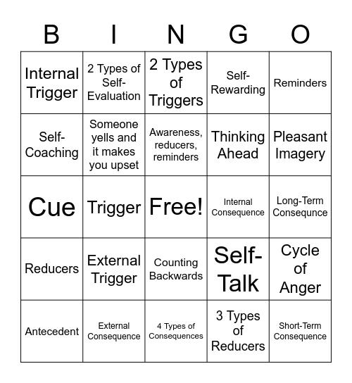 Anger Control Bingo Card