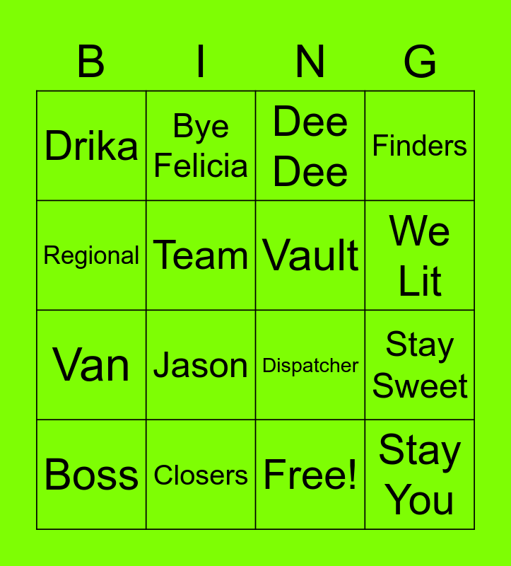 Dispatchers Be Lit Bingo Card