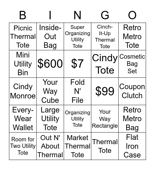 Thirty One Bingo Card