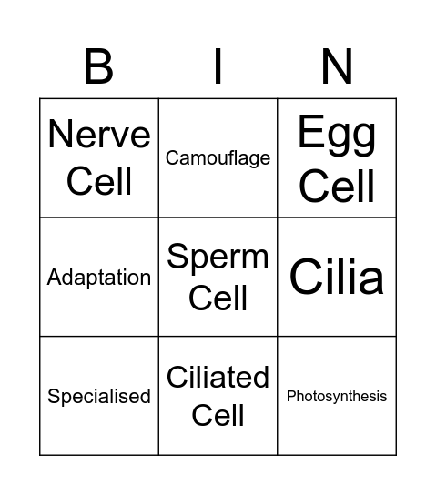 Specialised Cells Bingo Card
