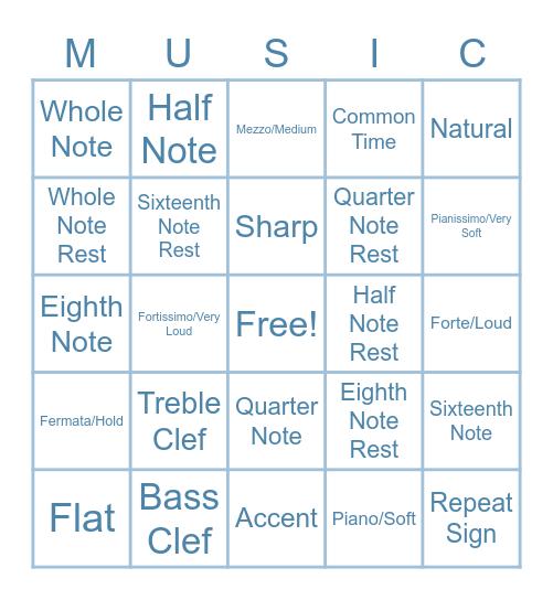 Music Symbol Bingo! Bingo Card