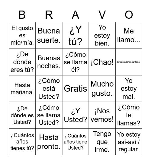Saludos - 6th grade Bingo Card