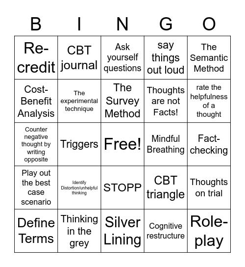 CBT untwist Bingo Card