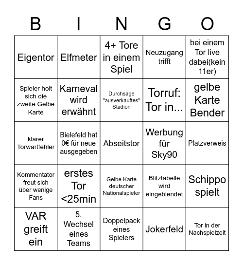 Bundesliga Konferenz 26.09 Bingo Card