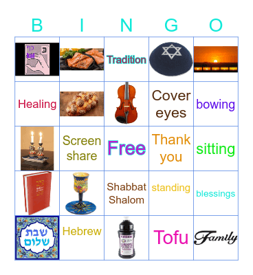 Shabbat Get to Know Each Other's Tradition Bingo Card