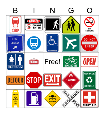 Safety Signs Bingo Card