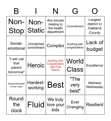 9/28 Board Meeting Bingo Card