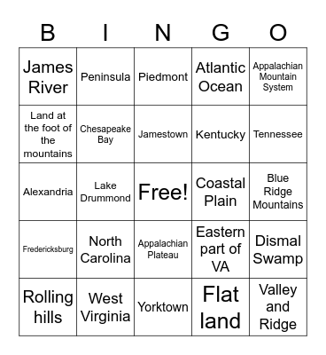 VS2 Geography Bingo Card