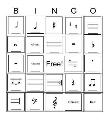 Beginning Band Bingo Card