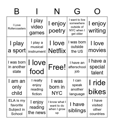ELA 9 Get To Know You Bingo Card