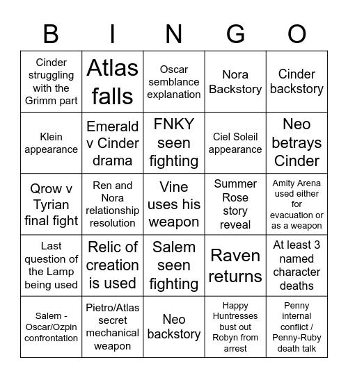 RWBY Season 8 Bingo Card Bingo Card