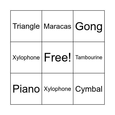 Percussion Bingo Card