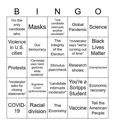 Presidential Debate Bingo 9/29 Bingo Card