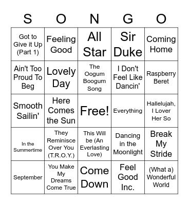 Feelin' Good Bingo Card