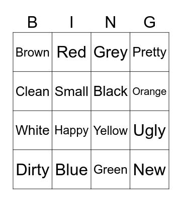 Colores y Adjetivos Bingo Card