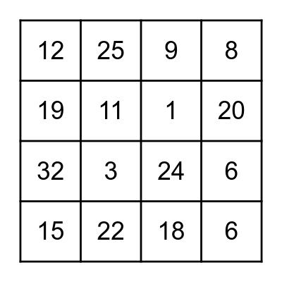 Order of Operations: Bingo Edition Bingo Card