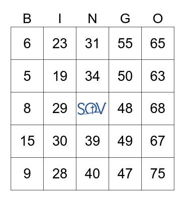 SOVLC Spooky Bingo Night October 21 7 p.m. Bingo Card