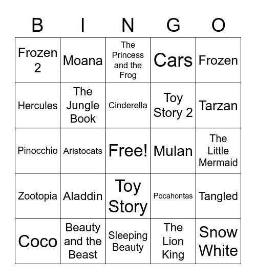 Disney Songs Bingo Card