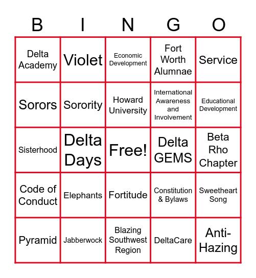 Delta Bingo Card