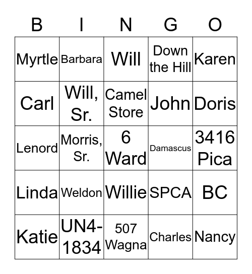 Smith Bingo Card