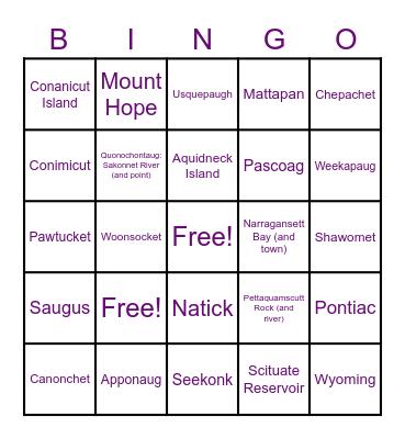 Rhode Island/MA Places & Indigenous Names Bingo Card