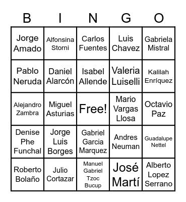 South American/Central American writers Bingo Card
