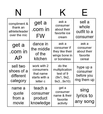 NIKE Bingo Card