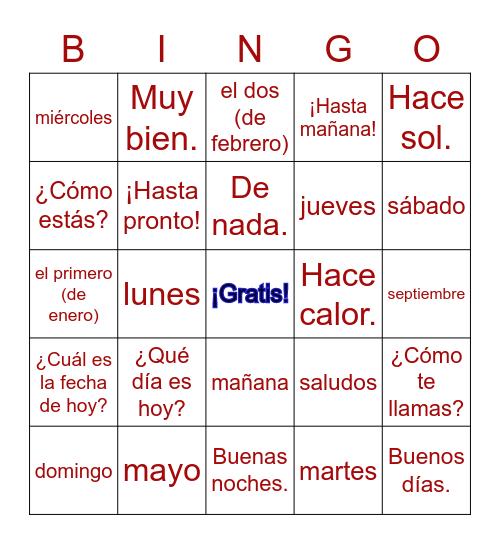 Asi se dice I - Preliminar Bingo Card