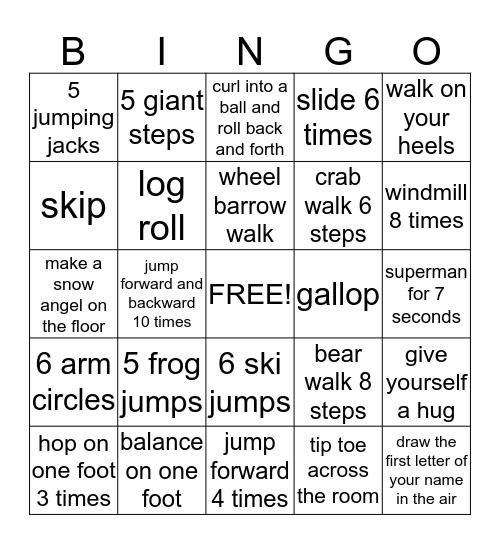 Motor Bingo Card