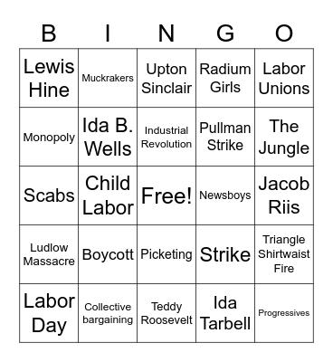 Labor Movement Bingo Card