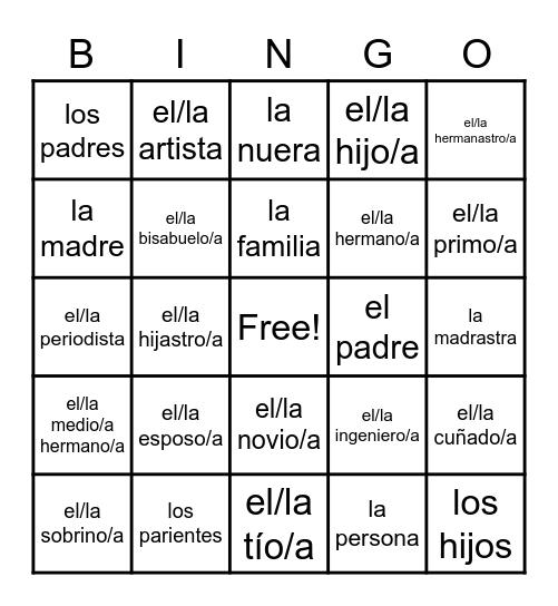 Familia Vocab Bingo Card