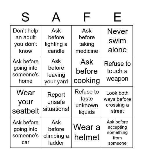 Rules for Staying Safe Bingo Card