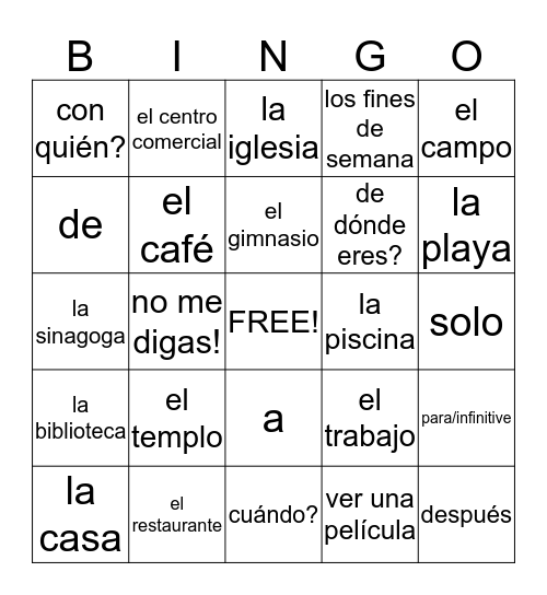 1-repaso de 4a Bingo Card