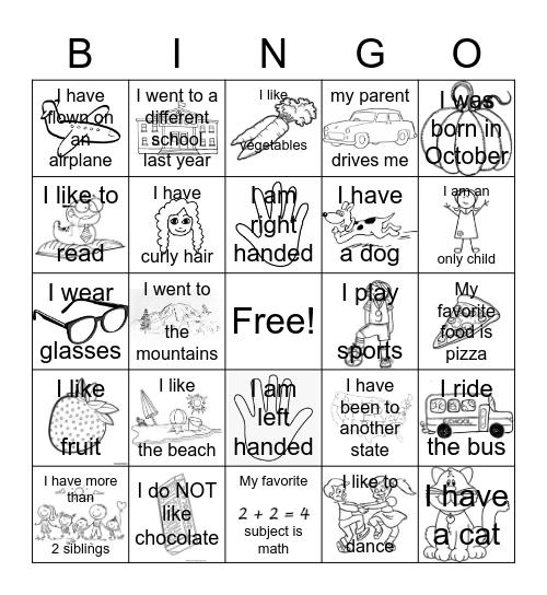 Get To Know You Bingo K-1 Bingo Card