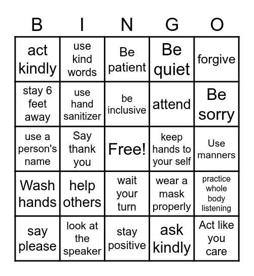 Ways to Show Respect Bingo Card