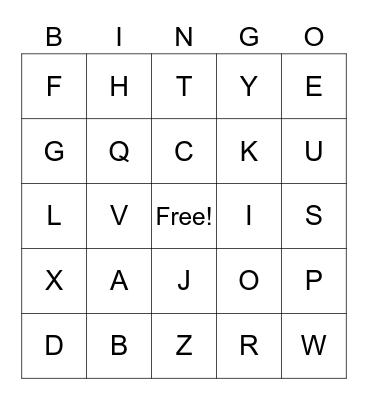 L'alphabet en français Bingo Card