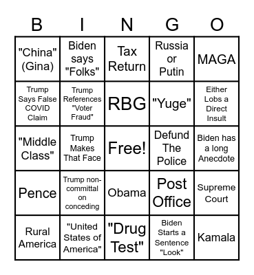 1st Debate! Bingo Card