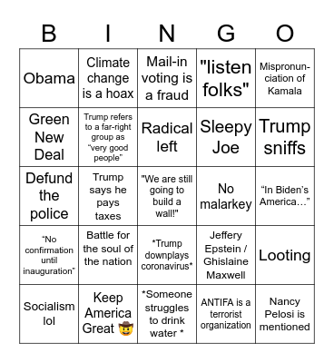 Debate Bingo! Bingo Card