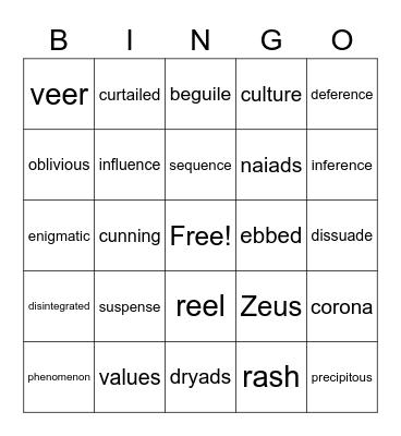 Mythology Vocabulary Bingo Card