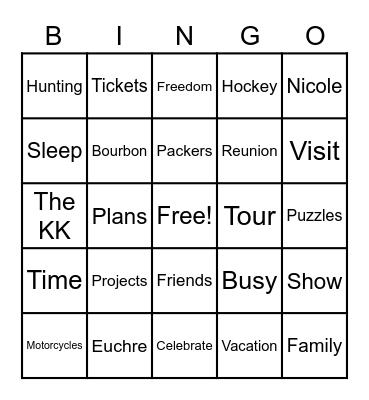 Jene's Retirement Bingo Card