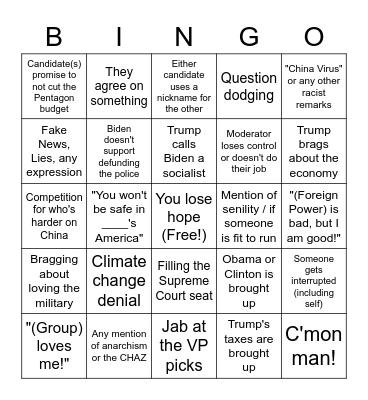 9/29 Debates Bingo Card